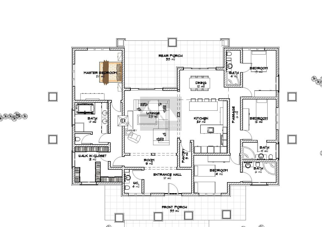 Arched 4 Bedroom Bungalow Bungalow Floor Plans Bungalow House Plans Four Bedroom House Plans