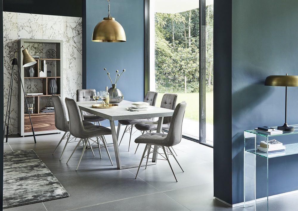 Less Is More With Our Simple Form Trend The Halmstad Dining Table Features A Cool And Contemporary Design Leather Chairs Concrete Effect
