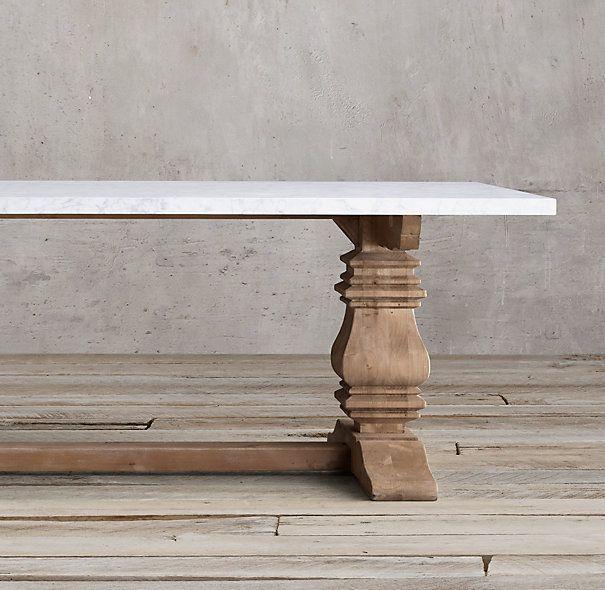 Salvaged Wood Marble Trestle Rectangular Dining Table Dining Table Rectangular Dining Table Marble Dining