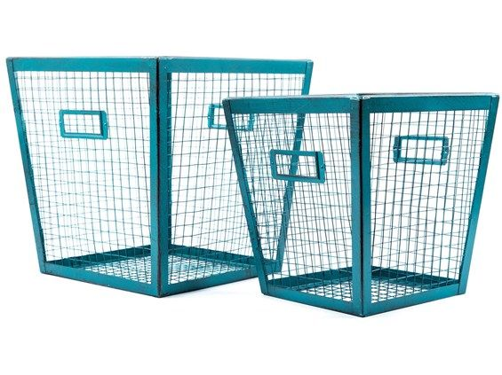 Distressed Teal Metal & Wire Basket Set