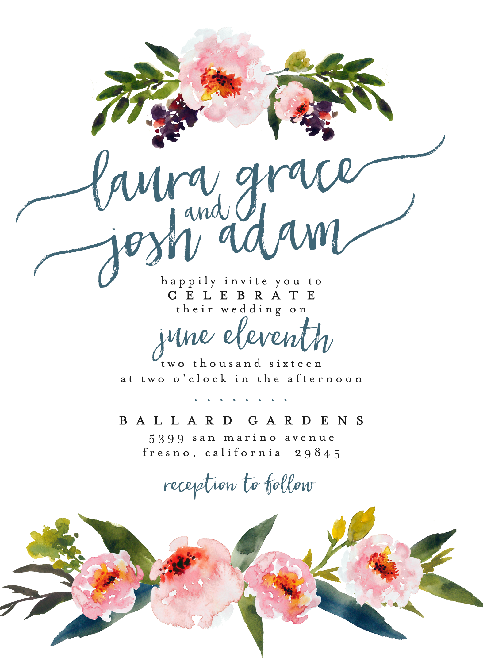 watercolor floral wedding invitation  u2215 u2215 printable  custom  diy wedding  u2215 u2215 boho chic invite