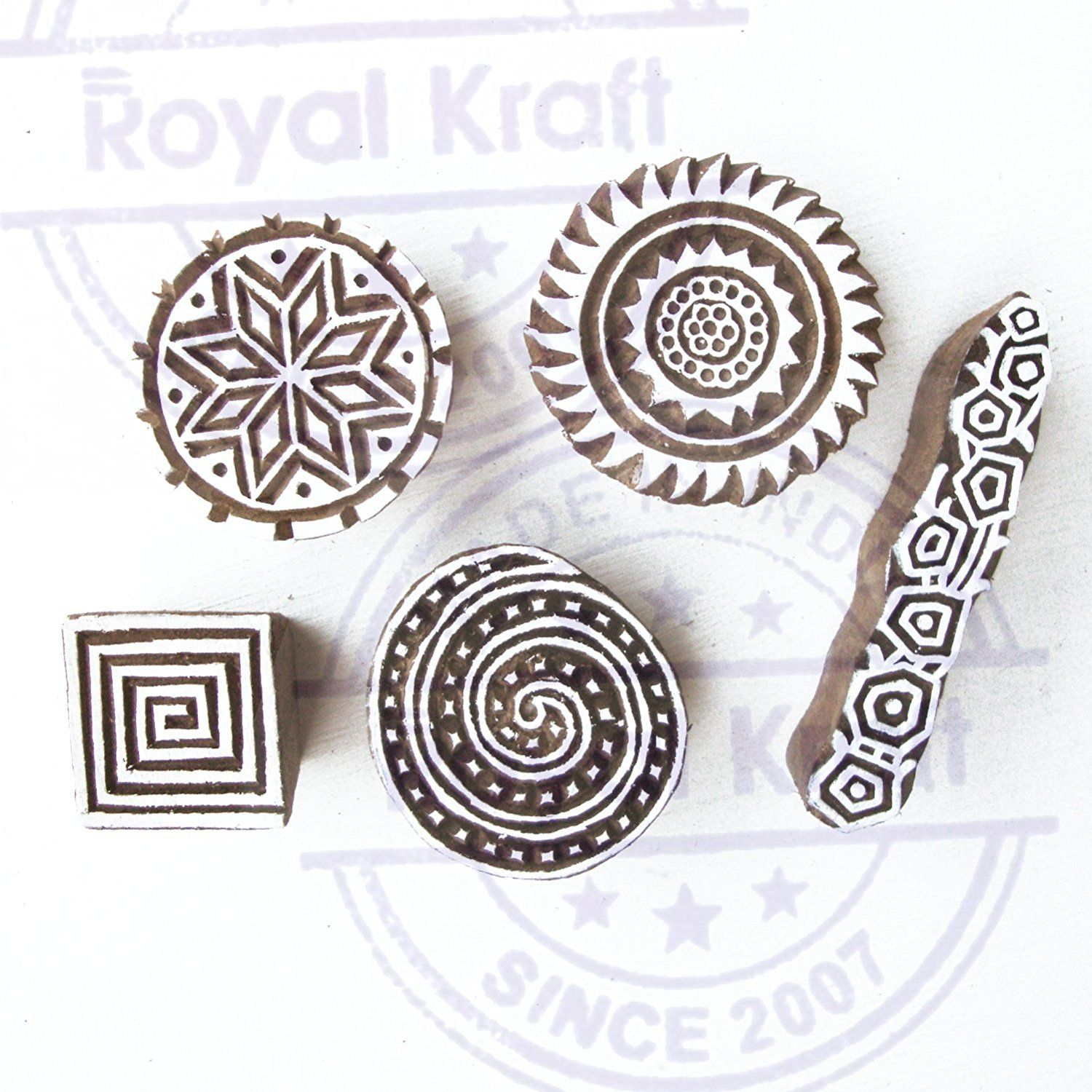 AmazonSmile Hand Made Spiral and Round Pattern Wooden Printing
