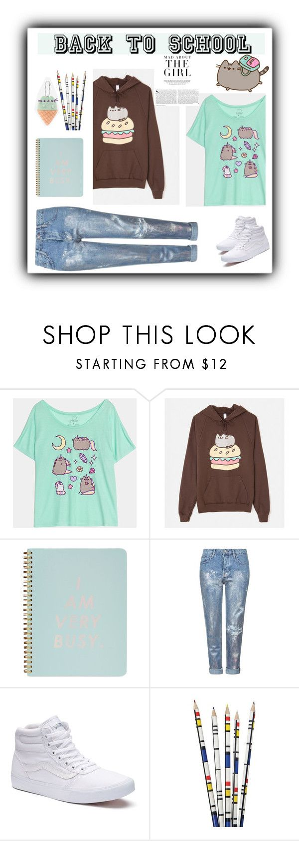 """""""#PVxPusheen"""" by pamela-802 ❤ liked on Polyvore featuring Pusheen, ban.do, Topshop, Vans, Chronicle Books, Kershaw, contestentry and PVxPusheen"""