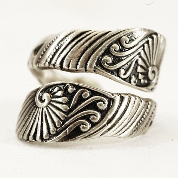 Victorian Swirl Bypass Ring Spoon Ring in Eco Friendly by Spoonier