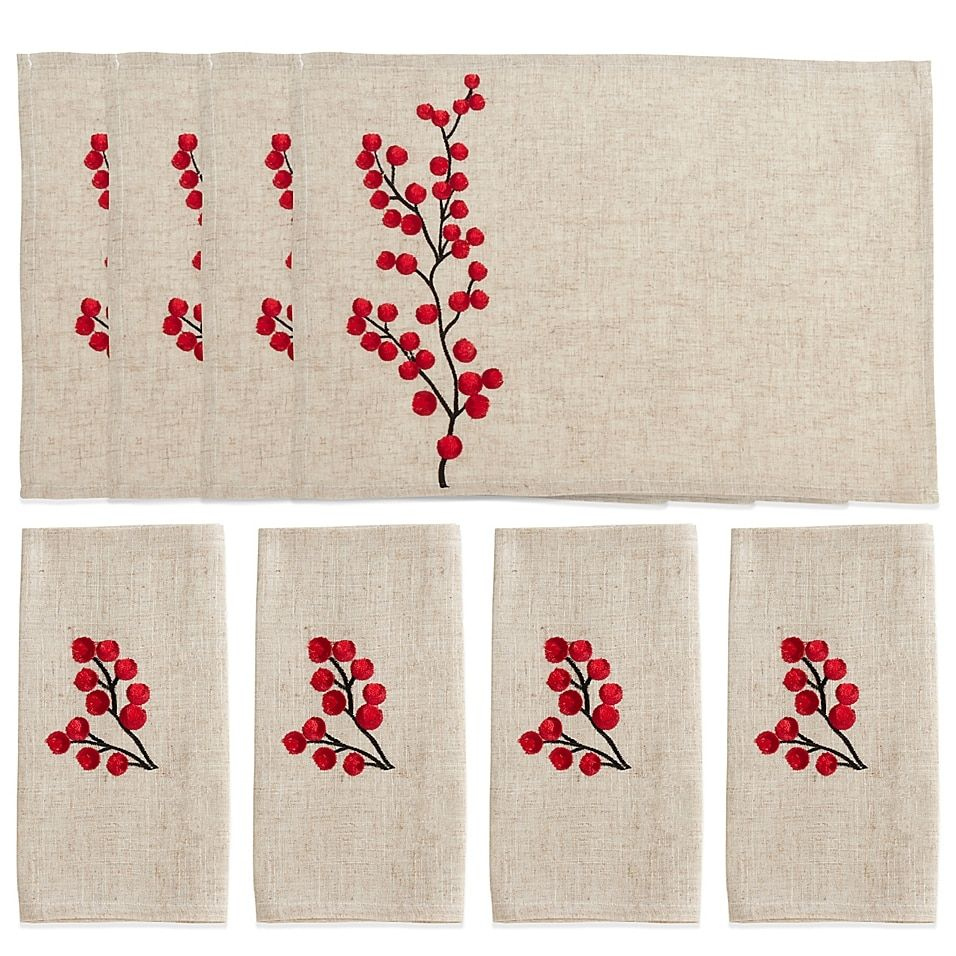 Saro Lifestyle Red Berry 8 Piece Table Linen Set In Natural Hand Embroidery Kit Embroidered Napkins Napkins