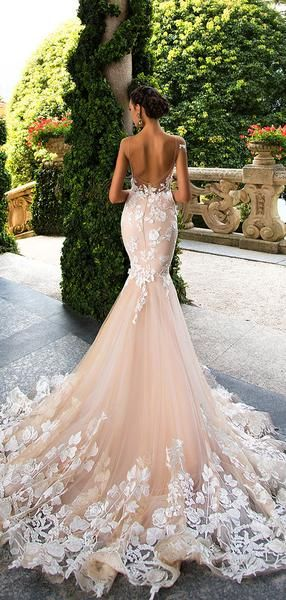 Blush Pink Lace Applique Backless Mermaid Wedding Dresses Ab1501 Backless Mermaid Wedding Dresses Blush Pink Wedding Dress Pink Wedding Dresses