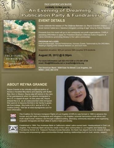 Reyna Grandes Publication Fundraiser Chirla The Distance