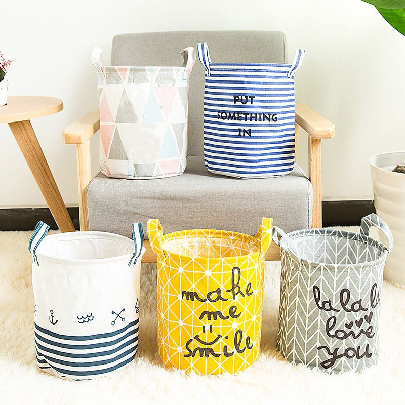 Storage Baskets Folding Laundry Basket Yellow Arrow Couple Linen