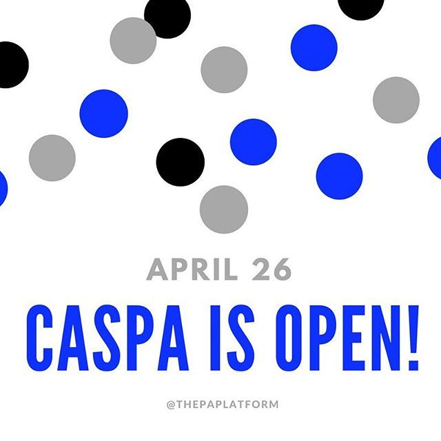 Today's the day! CASPA is finally open again! Here are