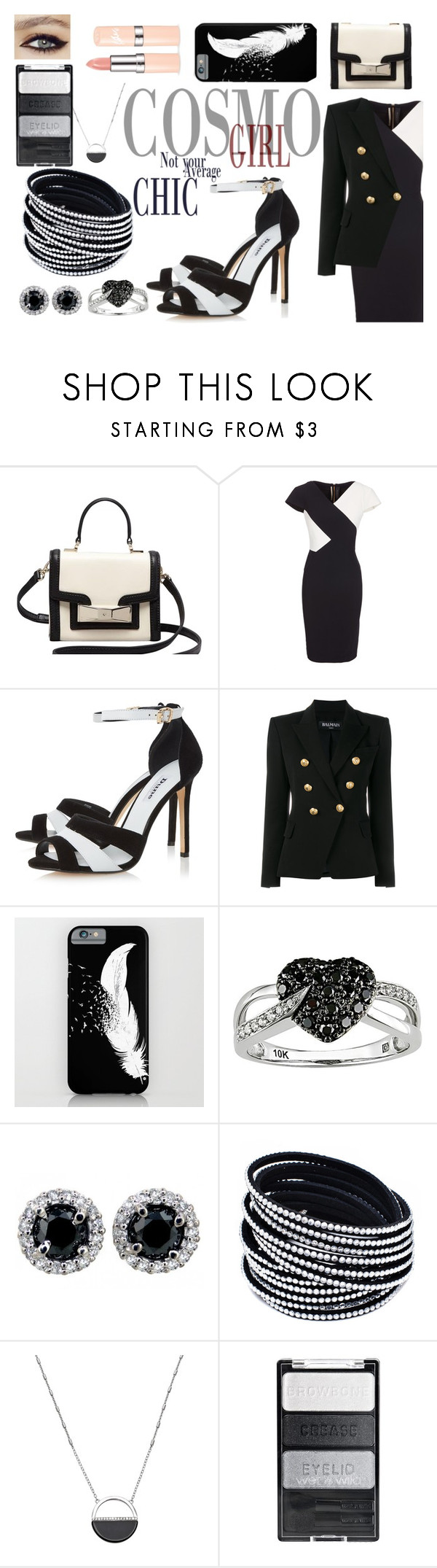 """""""Cosmo Girl"""" by emmy-124fashions ❤ liked on Polyvore featuring Kate Spade, Roland Mouret, Dune, Balmain, Ice, White House Black Market and blackandwhite"""