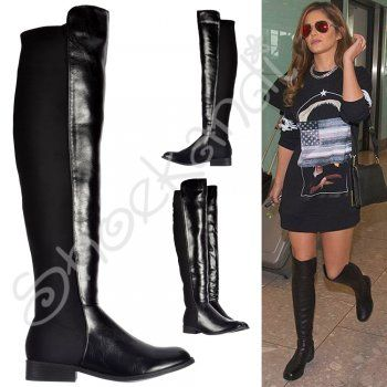 e905849c937a Shoekandi Extra Wide Stretch Thigh High Over The Knee Flat Riding Boot - Black  PU -