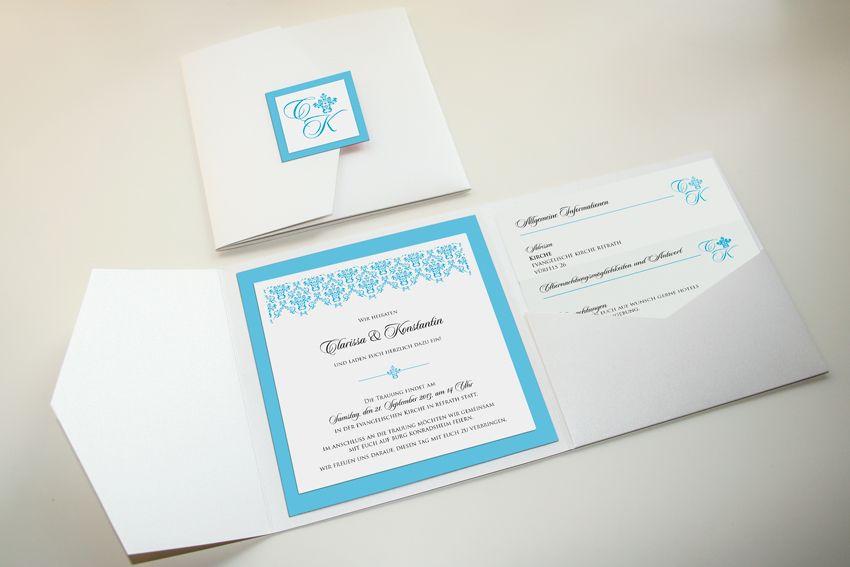 Einladung Zur Hochzeit, Pocket Fold 5x5, Klassisch Elegant. Thema:  Schlosshochzeit, Barock, Türkis, Ornament. Farben: Weiß, Türkis, Anthrazit,  ...