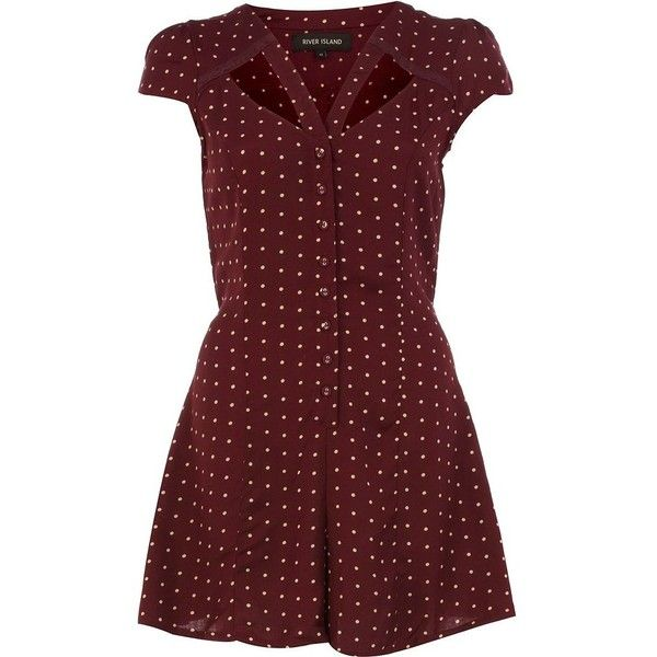 3698d7602b River Island Red polka dot cut out playsuit ( 37) ❤ liked on Polyvore  featuring jumpsuits