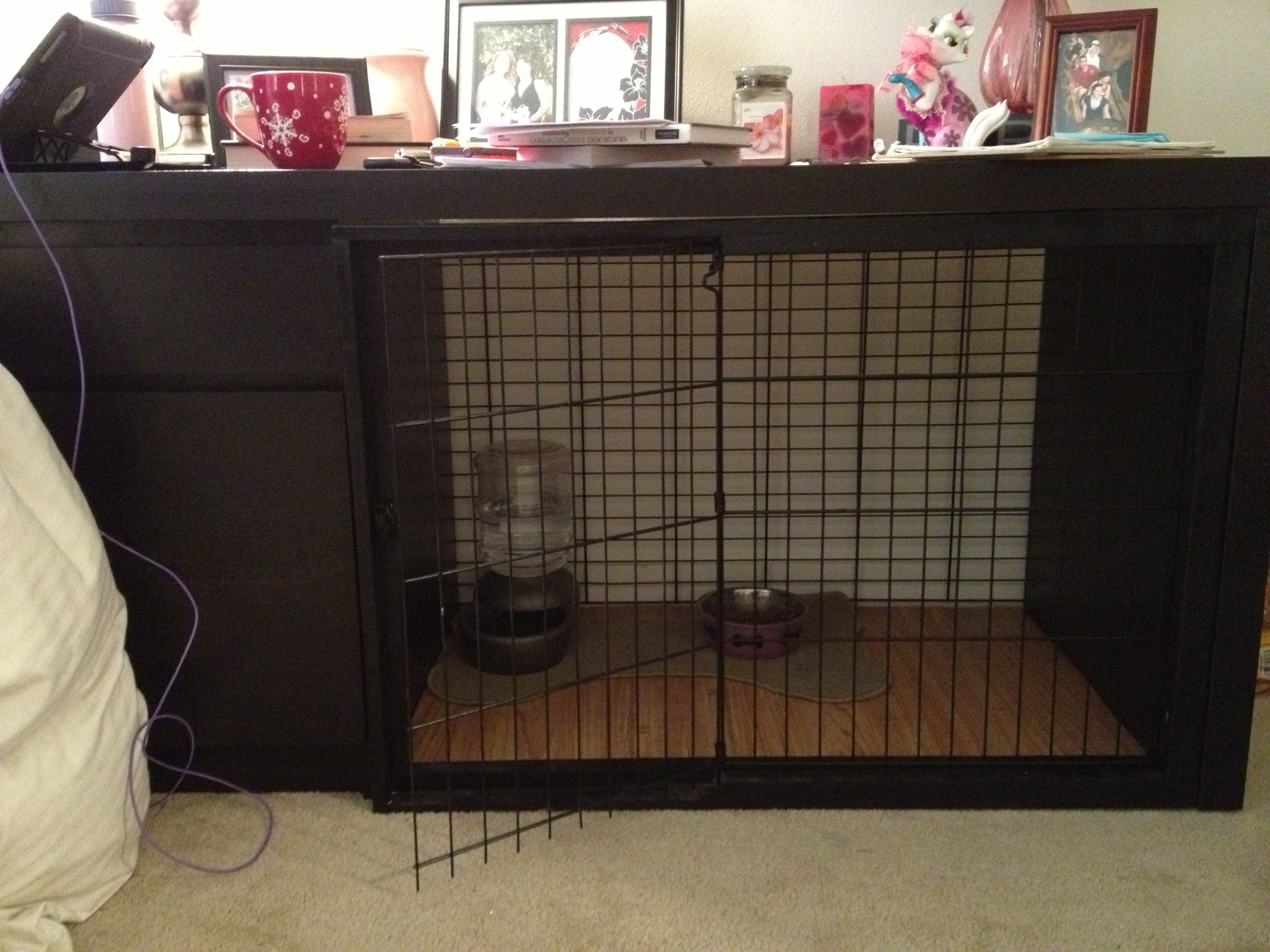 A Dog Kennel Made Out Of An Ikea Desk Functional For Me And My