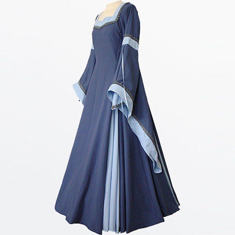 Light Blue Vintage Style Gothic dress floor length women cosplay ...