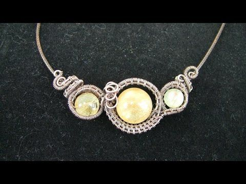 Wire Wrap Tutorial Sideways Pendant Necklace 3 Gemstone Beads ...