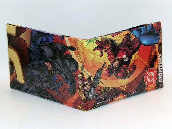 Comic Book Wallet// JLA// Batman, Aquaman, and Flash (Wally West), $4.00