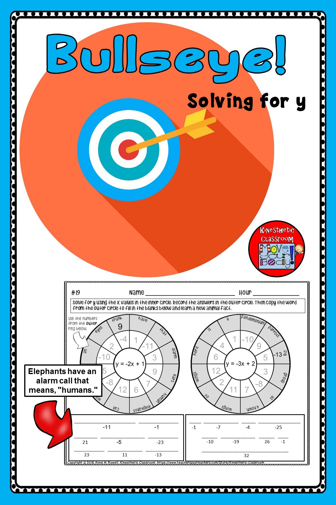 Solving For Y Worksheets Bullseye