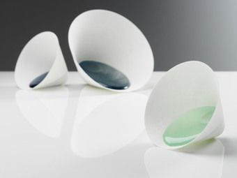 Andrea Walsh - small and medium bone china funnel vessels with glass, 2007