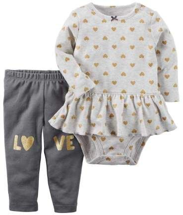 39831b4d8 Carter's Infant Girls Gold Heart Baby Outfit 2 Pc Love Bodysuit & Leggings  Set NB