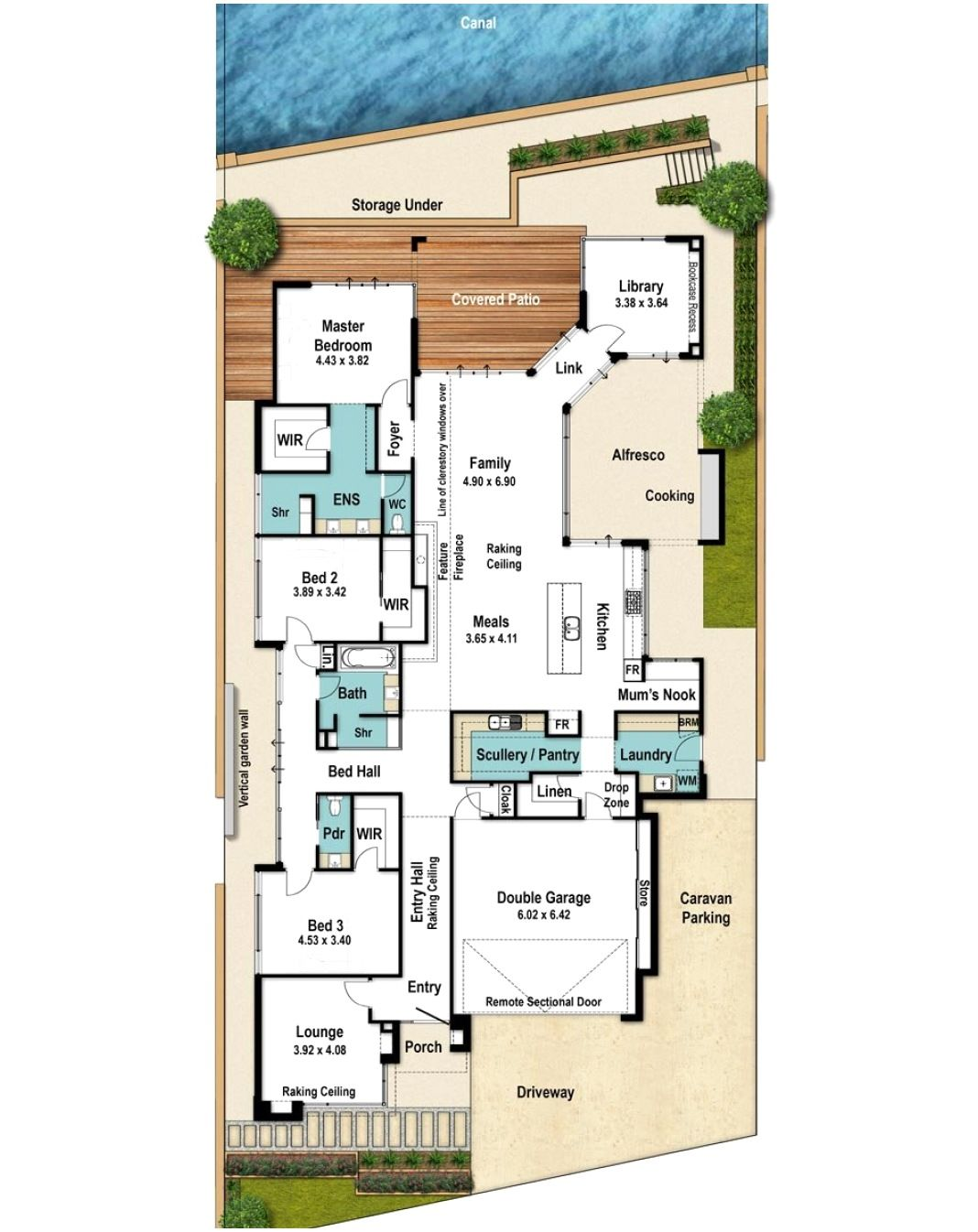Canal Floor Plan With Caravan Bay In 2021 Narrow House Plans Single Storey House Plans House Plans Australia