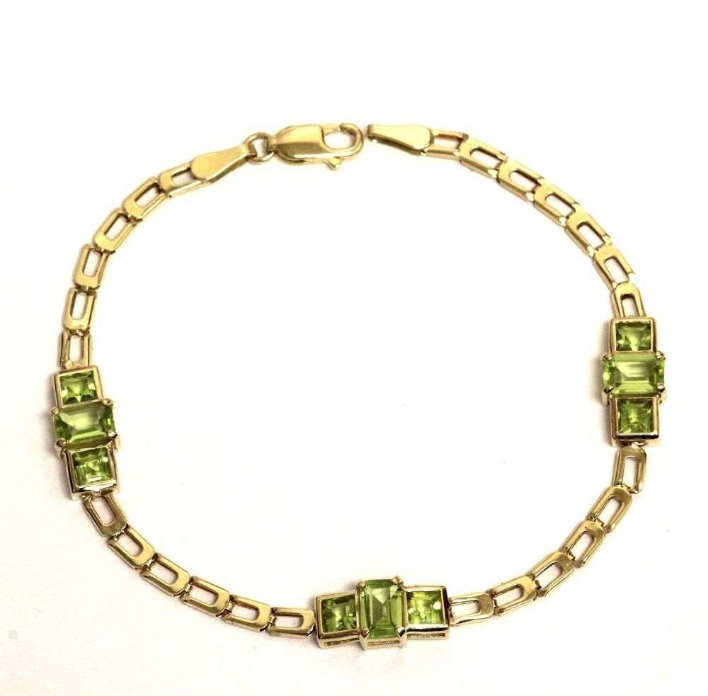 K yellow gold peridot womens tennis bracelet g