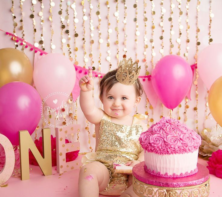 Cake Smash Pink And Gold Girl
