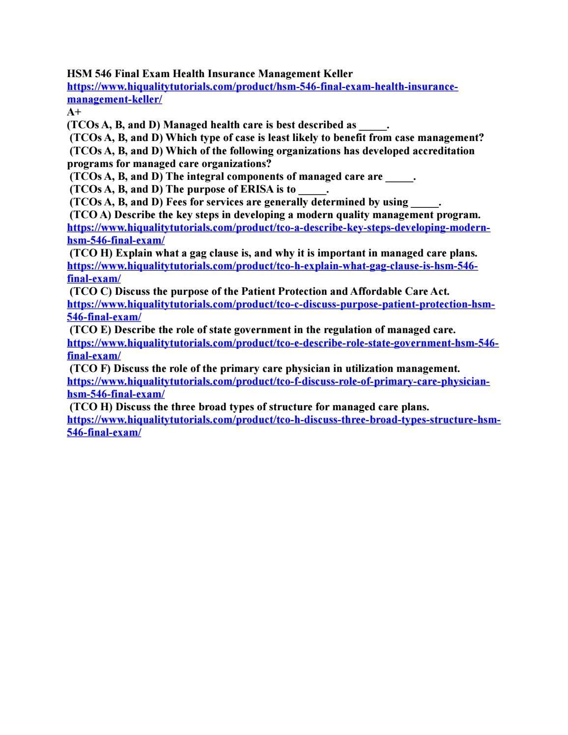 Hsm 546 Final Exam Health Insurance Management Exam Final Exams