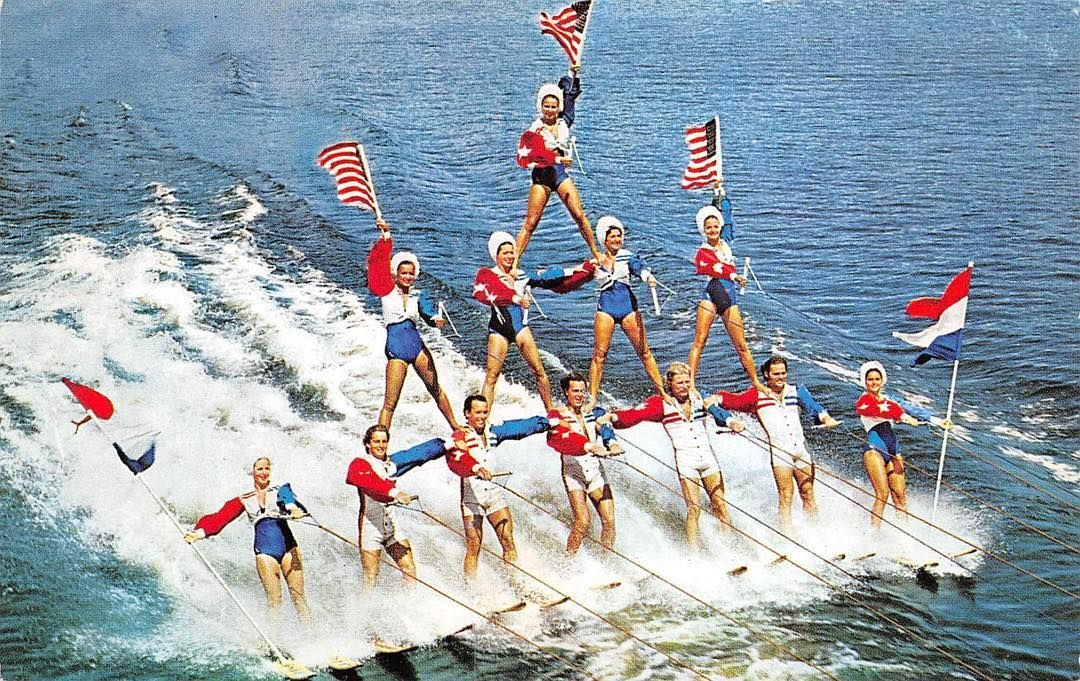 Florida Memory • Pyramid of skiers at Cypress Gardens in