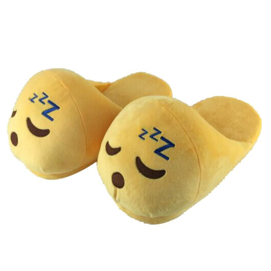 Women Plush Slipper Slip-On Cute Emoji Pattern Men Women Slippers Winter Warm House Slippers