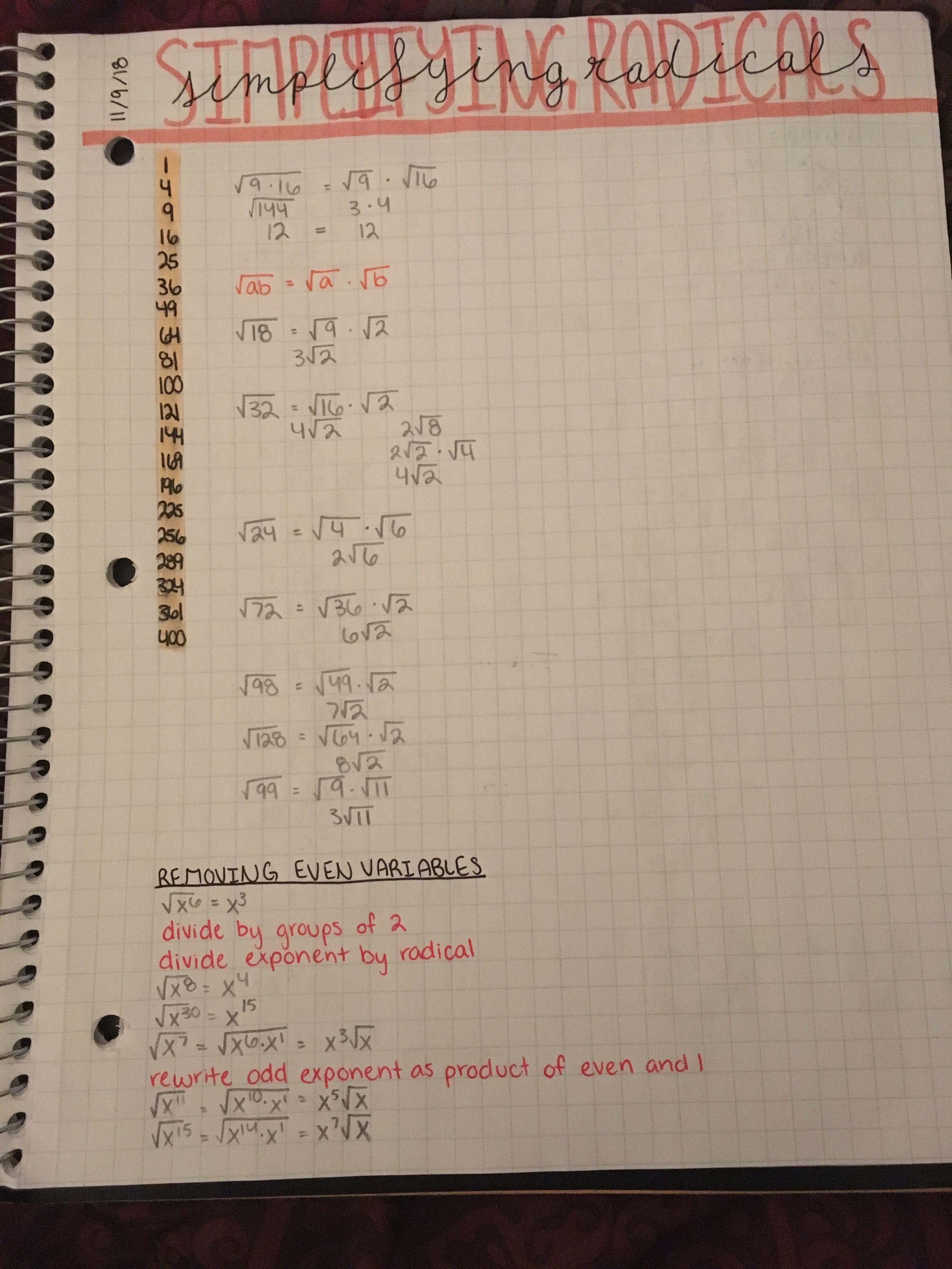 Algebra Simplifying Radicals Notes Math Notes Algebra Notes Basic Algebra [ 4032 x 3024 Pixel ]