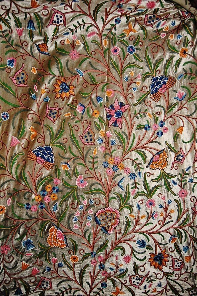 Velvet Crewel Embroidered Fabric Olive Multicolor Cv202 Dream