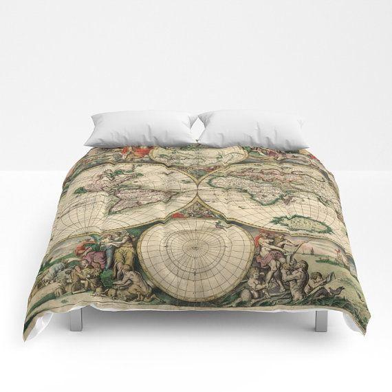 Old World Map Comforter Vintage World Map Bedding Map Etsy Map Bedspread Map Bedding Comforters