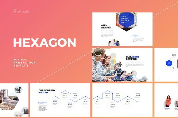 Hexagon-Powerpoint Template Modelli - history powerpoint template