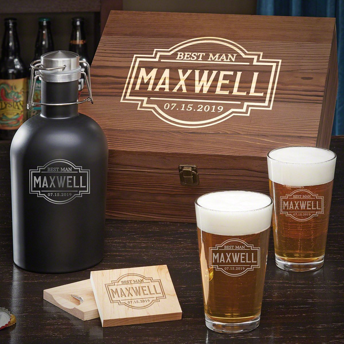 Fremont personalized beer gift set for couples gifts for