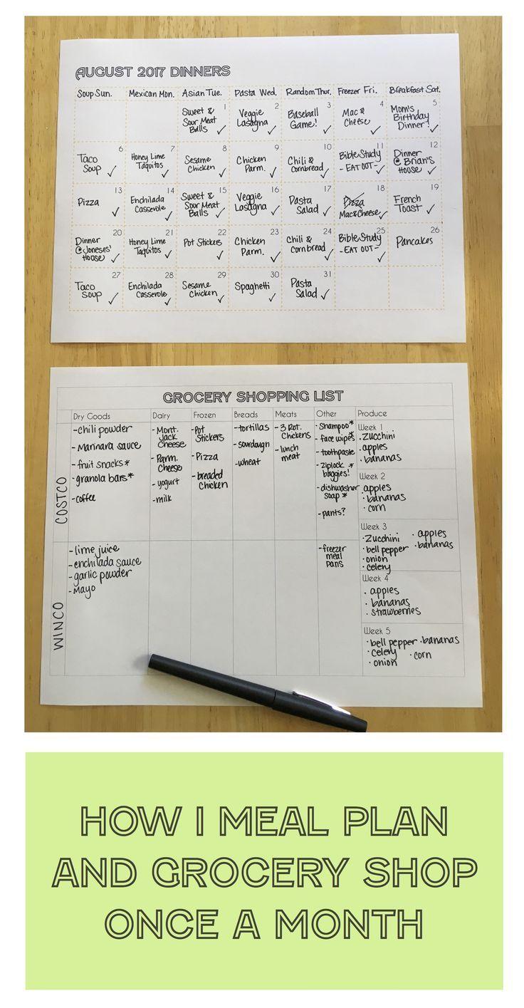 Wie ich Plan und Lebensmittelgeschäft einmal im Monat speise   – Meal Planning