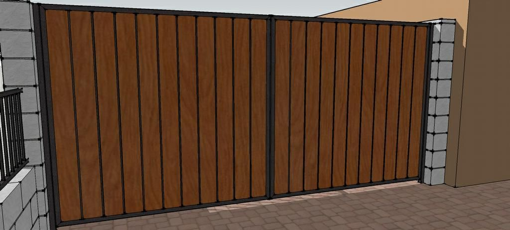 Picture Iron Wood Double Gate Provided By Phoenix Wrought