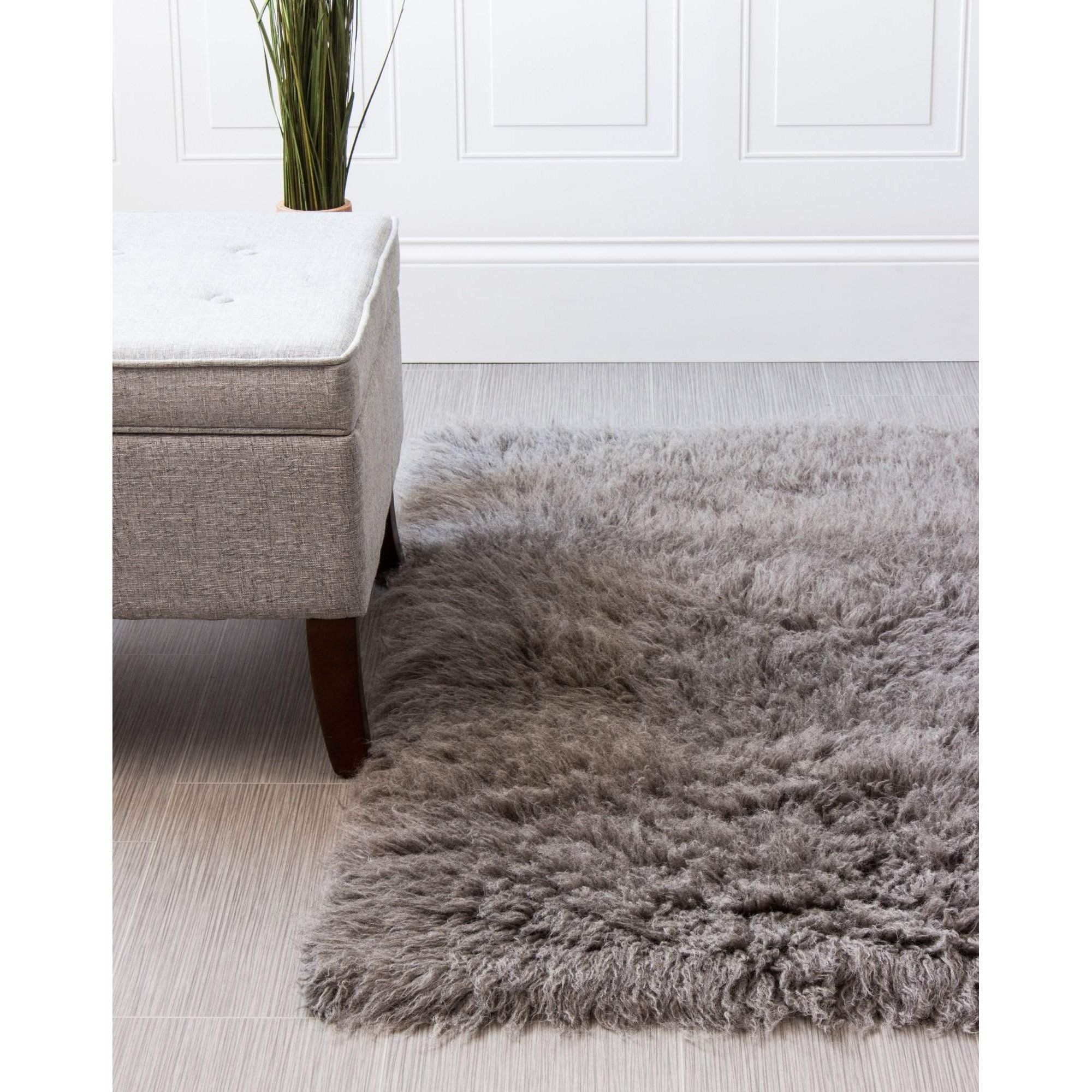 Flokati Rug Light Gray High Quality Carpet New Zealand Wool