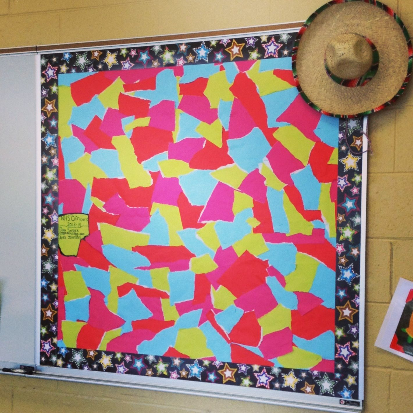 Take bulletin board paper w/ three colors, rip them into ...