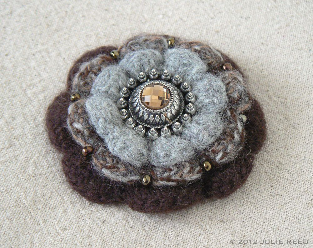 Handmade Crocheted, Felted & Embellished Wool Brooch Pin in Brown and Gray. $24.00, via Etsy.