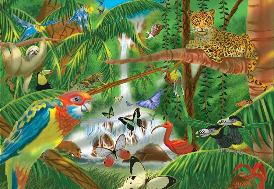0200 pc Rain Forest Cardboard Jigsaw Rainforest animals