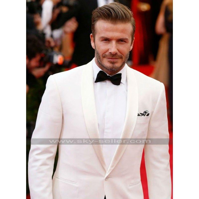 David Beckham Ivory White Tuxedo Suit | Weddings | Pinterest | White ...