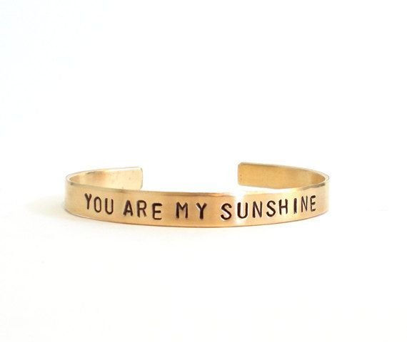 Hand Stamped Bracelet - You Are My Sunshine - Personalized - Inspirational Quote - Mom Mother - Brass Bracelet by WyomingCreative - Found on HeartThis.com @HeartThis | See item http://www.heartthis.com/product/171224016794333291?cid=pinterest