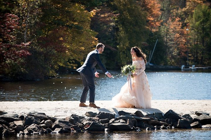 The bride Wears Custom Blush Bridal Gown for A Rustic Wedding at Lake Naomi in the Poconos