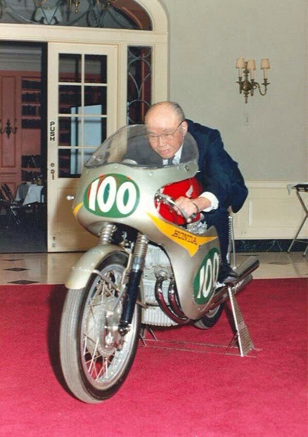 Soichiro Honda On Motorcycle