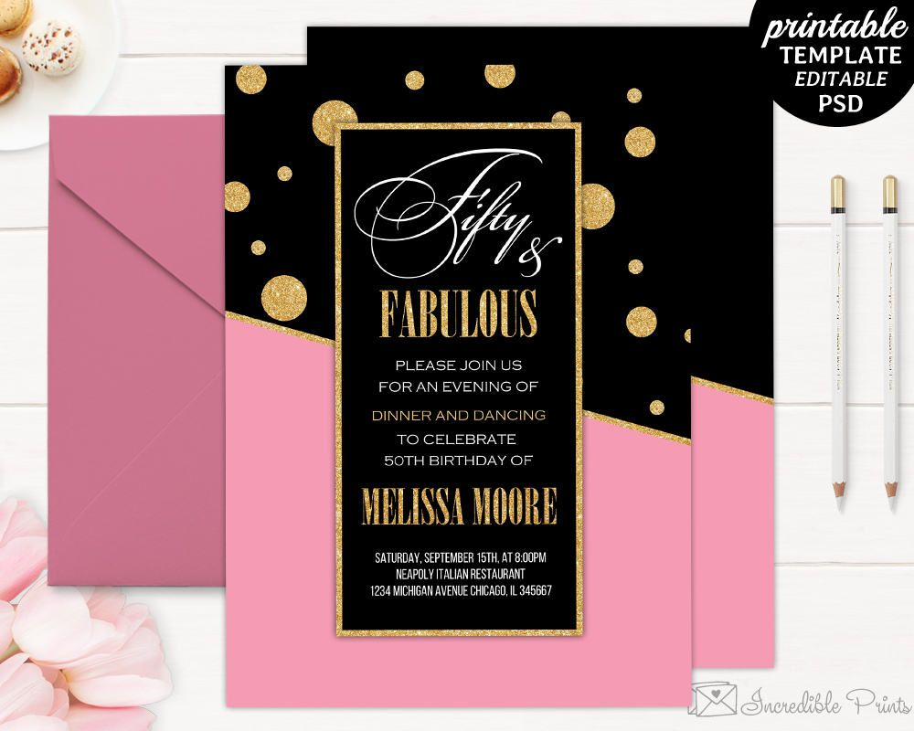 Printable Gold and Pink 50th Birthday Party Invitation Template – 50th Birthday Party Invitations Templates