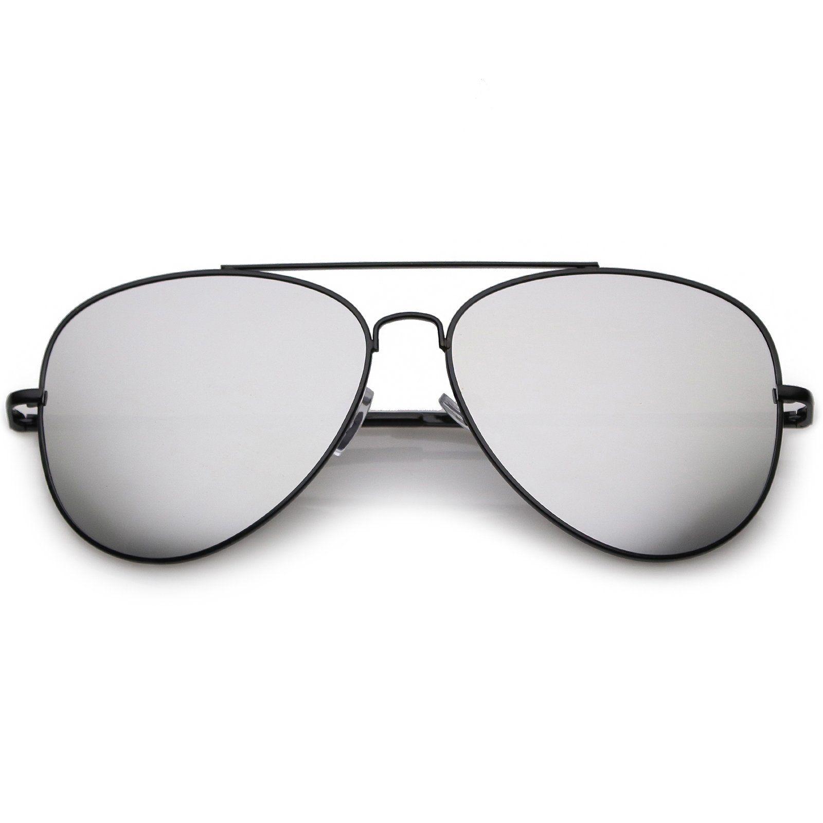 d3a454603 Classic Metal Aviator Sunglasses Slim Arms Straight Crossbar Mirrored Flat  Lens 59mm