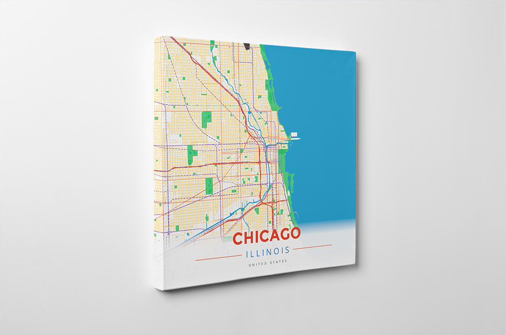 Gallery Wrapped Map Canvas of Chicago Illinois