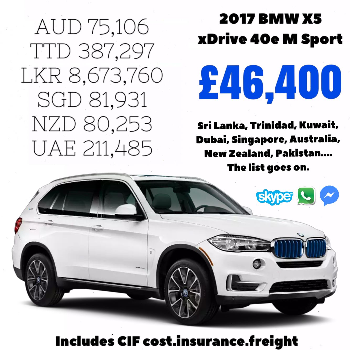 Contact us today for unbelievable prices cif bmwx5