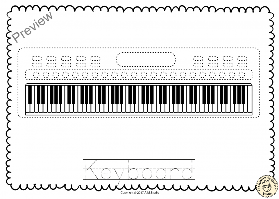 Keyboard Musical Instrument Trace and Color Pages Music